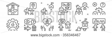 Set Of 12 Refugee Crisis Icons. Outline Thin Line Icons Such As Political, Poverty, Homeless, Donati