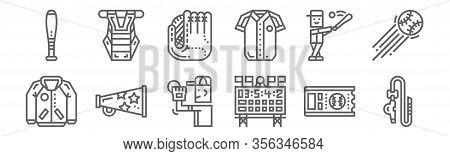 Set Of 12 Baseball Icons. Outline Thin Line Icons Such As Whistle, Scoreboard, Megaphone, Baseball,