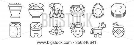 Set Of 12 Mexico Icons. Outline Thin Line Icons Such As Mate, Aboriginal, Huehuetl, Avocado, Catrina