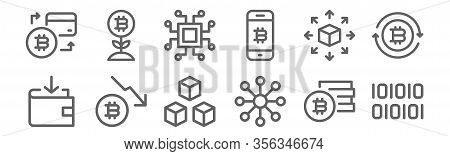 Set Of 12 Cryptocurrency Icons. Outline Thin Line Icons Such As Binary, Decentralized, Bitcoin, Dece