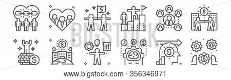 Set Of 12 Business Partnership Icons. Outline Thin Line Icons Such As Control, Management, Enterpris