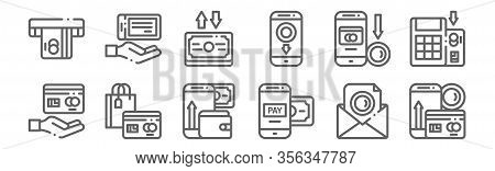 Set Of 12 Payment Icons. Outline Thin Line Icons Such As Payment Method, Payment Method, Method, Tra