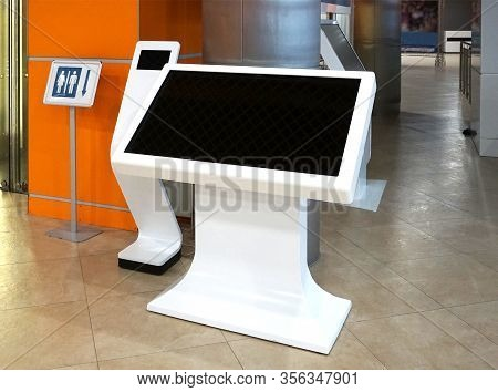 Interactive Digital Signage, Informational Kiosk With Blank Screen Isolated. Mockup To Showcase Prod