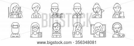 Set Of 12 Female Occupations Icons. Outline Thin Line Icons Such As Gamer, Dancer, Accounting, Guide