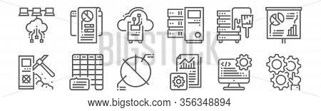 Set Of 12 Data Analytics Icons. Outline Thin Line Icons Such As Automation, Report, Frequency, Data,
