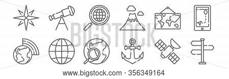 Set Of 12 Geography Icons. Outline Thin Line Icons Such As , Anchor, Globe, World Map, Search, Teles