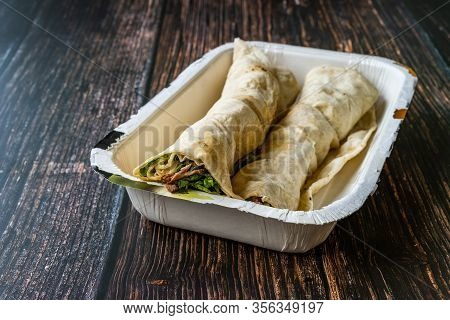 Take Away Turkish Shawarma Kebab With Cop Sis In Plastic Container Package Box.