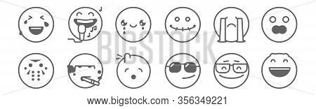 Set Of 12 Classics Icons. Outline Thin Line Icons Such As Laughing, Cool, Smoker, Cry, Cry, Singer