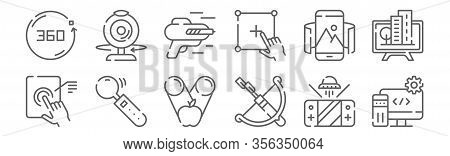 Set Of 12 Virtual Reality Icons. Outline Thin Line Icons Such As Software, Arc, Joystick, Virtual Re