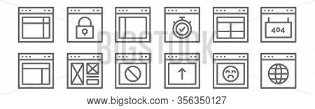 Set Of 12 Website Element Icons. Outline Thin Line Icons Such As Web Browser, Browser, Browser, Dash
