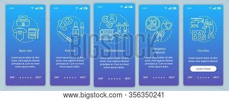 Babysitters Courses Onboarding Mobile App Page Screen Vector Template. Childcare Services. Walkthrou
