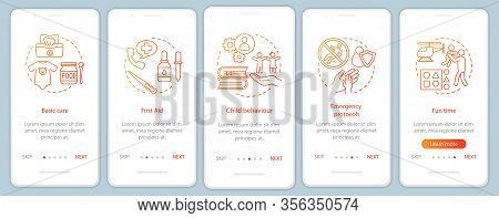 Babysitting Training Onboarding Mobile App Screen Vector Template. Childcare Courses. Walkthrough We