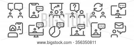 Set Of 12 Meeting Icons. Outline Thin Line Icons Such As Email, Chatting, Chatting, Switch, Discussi
