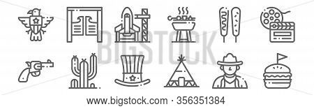Set Of 12 United States Icons. Outline Thin Line Icons Such As Burger, Tipi, Cactus, Corndog, Spaces
