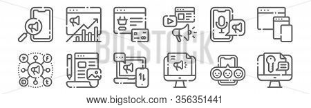 Set Of 12 Digital Marketing Lineart Icons. Outline Thin Line Icons Such As Keyword, Digital Campaign