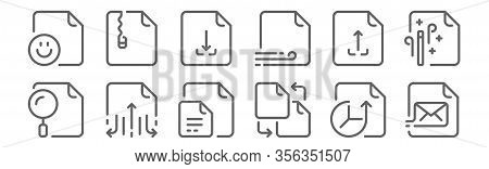 Set Of 12 Files Icons. Outline Thin Line Icons Such As File, File, File Sharing,