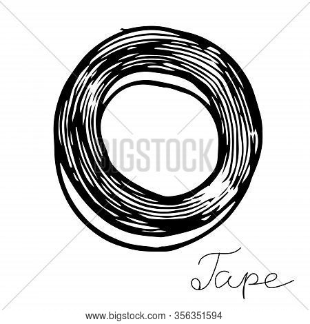 Hand-draw Black Vector Illustration Of Insulating Tape Locksmith Tool Isolated On A White Background
