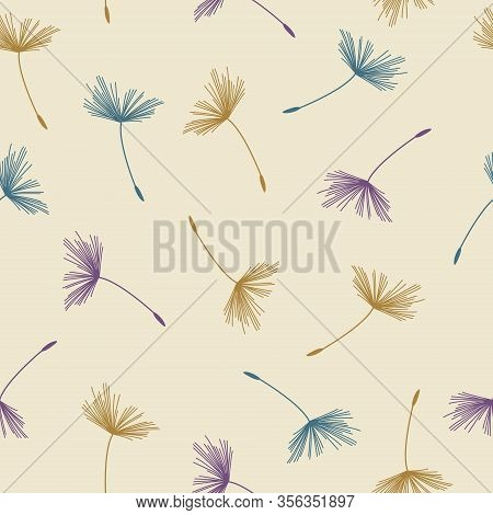 Seamless Abstract Floral Pattern Of Dandelion Flying Seeds In Pastel Colors On Beige Background. Vin