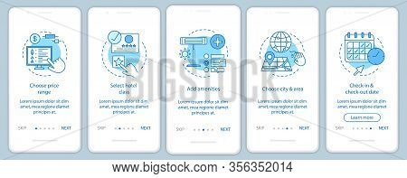 Hotel Room Booking Onboarding Mobile App Page Screen Vector Template. Choosing Price, Amenities, Cit