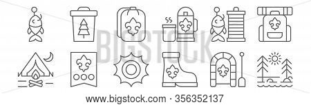 Set Of 12 Scouts Icons. Outline Thin Line Icons Such As Nature, Boots, Rank, Fishhook, Sleeping Bag,