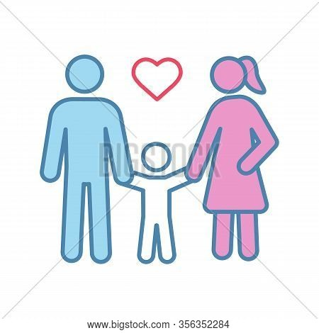 Family Color Icon. Woman, Man And Child. Positive Parenting. Childcare. Happy Parenthood. Father, Mo