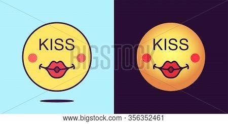 Emoji Face Icon With Phrase Kiss. Sexy Emoticon With Lips And Text Kiss. Set Of Cartoon Faces, Emoti