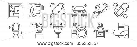 Set Of 12 Hygiene Icons. Outline Thin Line Icons Such As Socks, Dish Washing, Spray, Vacuum Cleaner,