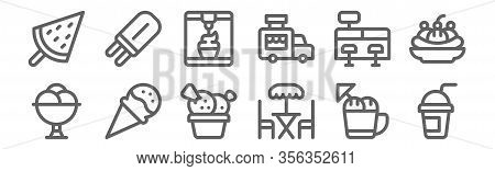 Set Of 12 Ice Cream Shop Icons. Outline Thin Line Icons Such As Smoothie, Terrace, Ice Cream, Cash R