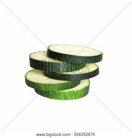 Ring Of Zucchini Isolated. Zucchini Isolated White Background. Set Of Green Zucchini. Top View