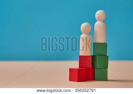 Company Hierarchy And Ranking. Career Ladder. Command Chain. People Miniature On Colourful Cubes. Su