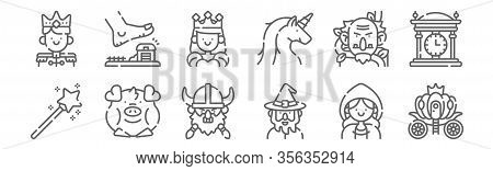 Set Of 12 Fairytale Icons. Outline Thin Line Icons Such As Pumpkin Carriage, Wizard, Pig, Giant, Que