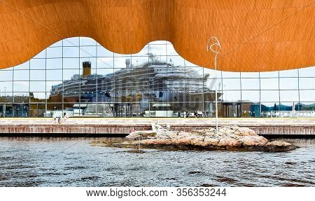 Kristiansand, Norway - July 19, 2017: The Cruise Ship Costa Favolosa Of Costa Cruises Is Reflected I