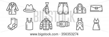 Set Of 12 Clothes Icons. Outline Thin Line Icons Such As Dress, Belt, Sleeveless Shirt, Handbag, Tie