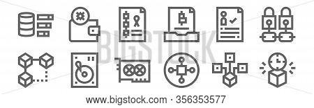 Set Of 12 Blockchain Icons. Outline Thin Line Icons Such As Block, Cryptocurrency, Hdd, Digital, Blo