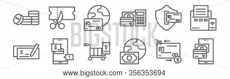 Set Of 12 Payment And Bank Icons. Outline Thin Line Icons Such As Online Payment, Payment Method, On