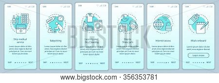 Cruise Facilities Onboarding Mobile App Page Screen Vector Template. Medical Service, Babysitting, L