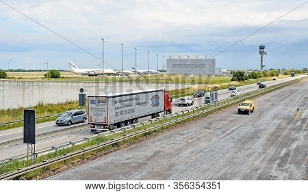 Leipzig, Germany - July 13, 2016: The A14 Motorway Is Closed On One Side Due To A Construction Site.