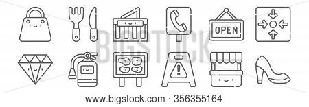 Set Of 12 Mall Icons. Outline Thin Line Icons Such As High Heels, Wet Floor, Extinguisher, Open, Mal