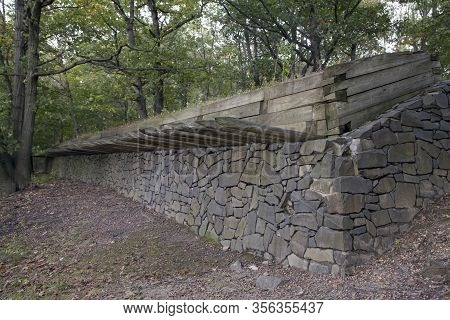 A Defensive Breastwork At The Reconstructed Revolutionary War Encampment  In Fort Lee Historic Park