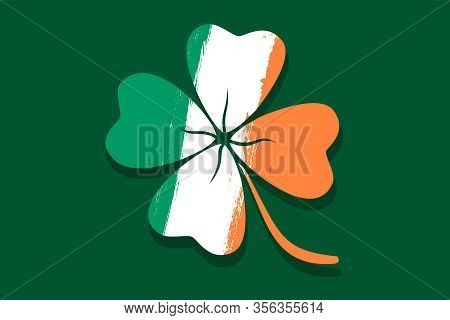 Vector Vintage Poster With Lucky Clover Like Irish Flag. Vector Illustration Of A Lucky Four Leaf Cl