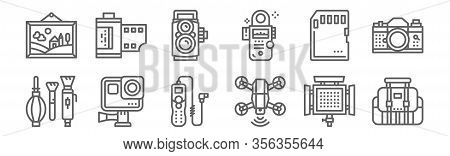 Set Of 12 Photo Icons. Outline Thin Line Icons Such As Bag, Drone, Camera, Memory Card, Camera, Film