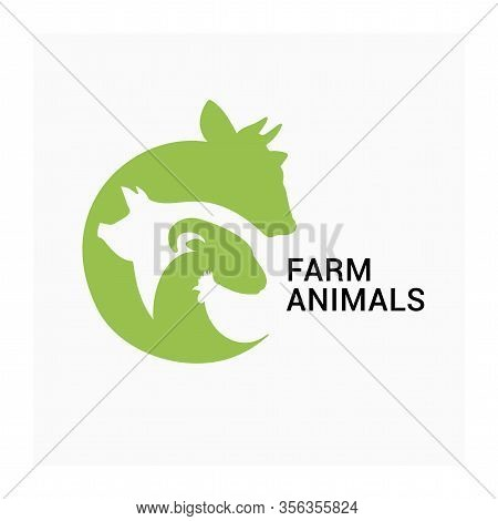Farm Animals Logo, Farmers Market Vector Icon, Animal Husbandry Logo. Vector Group Of Agricultural A