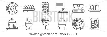 Set Of 12 Gastronomy Icons. Outline Thin Line Icons Such As Steak, Egg, Sundae, Frying, Sausage, Don