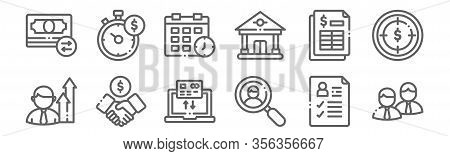 Set Of 12 Business Icons. Outline Thin Line Icons Such As Workgroup, Search, Deal, Spreadsheet, Sche