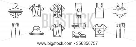 Set Of 12 Summer Clothing Icons. Outline Thin Line Icons Such As Trousers, Shoes, Pamela, Sleeveless