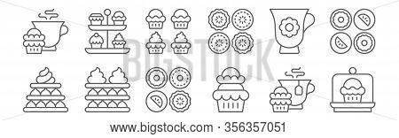 Set Of 12 High Tea Icons. Outline Thin Line Icons Such As Cake, Cupcake, Tart, Tea, Cupcake, Tea Sta