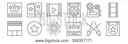 Set Of 12 Film Icons. Outline Thin Line Icons Such As , Star, Video Camera, Movie,