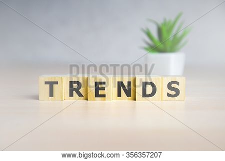 2020 Trends Concept. Wood Cubes With Word Trends.