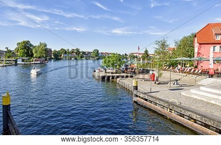 Malchow, Germany - July 9, 2017: Waterway In The Town Malchow In The State Mecklenburg-vorpommern In