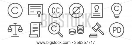 Set Of 12 Copyright Icons. Outline Thin Line Icons Such As Public Domain, Royalty, Patent, Intellect